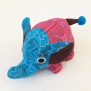 Fabric Elephant in Pink and Blue