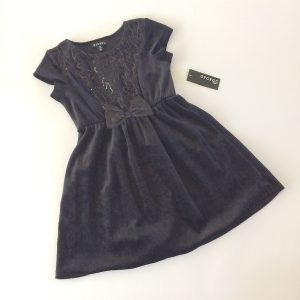 George Girls Black Velour and Sequins Holiday Party Dress