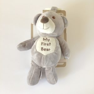 Kelly Baby My First Bear Plush Stuffed Toy, Grey with Rattle