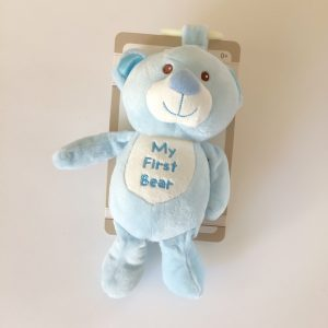 Kelly Baby My First Bear Plush Stuffed Toy, Light Blue with Rattle
