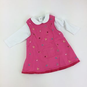 Pink Floral Overall Dress Size 6-9 M
