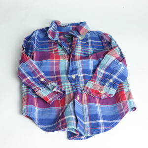 Ralph Lauren Blue and Red Plaid Button-Up Size 2T